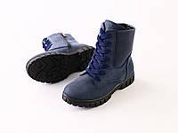 Зимние ботиночки из синего нубука, фото 1