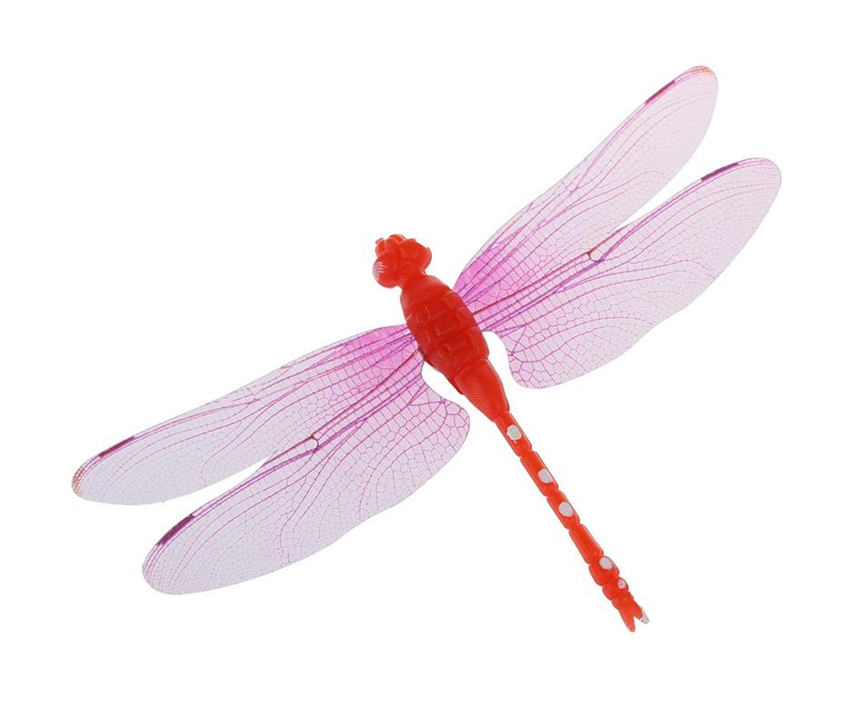 Декор пластиковая Стрекоза на магните, цвет красный