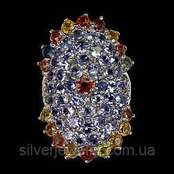 Серебряное кольцо с ТАНЗАНИТОМ и САПФИРОМ(натуральный), серебро 925 пр. Размер 17