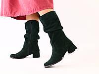 Женские замшевые изумрудные сапоги на каблуке, фото 1