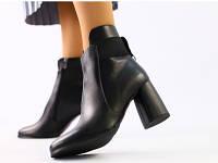 Женские демисезонные черные кожаные ботинки на каблуке, фото 1