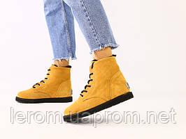 Зимние замшевые рыжие ботинки для девочки
