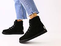 Зимние замшевые черные ботинки для девочки, фото 1
