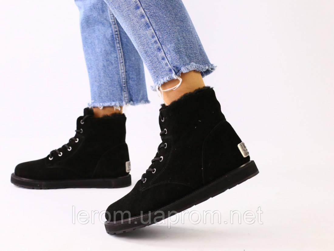 Зимние замшевые черные ботинки для девочки