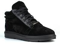 Зимние замшевые ботинки кроссовки мужская обувь черные Rosso Avangard Original Black Vel 40, 27, Натуральная цигейка