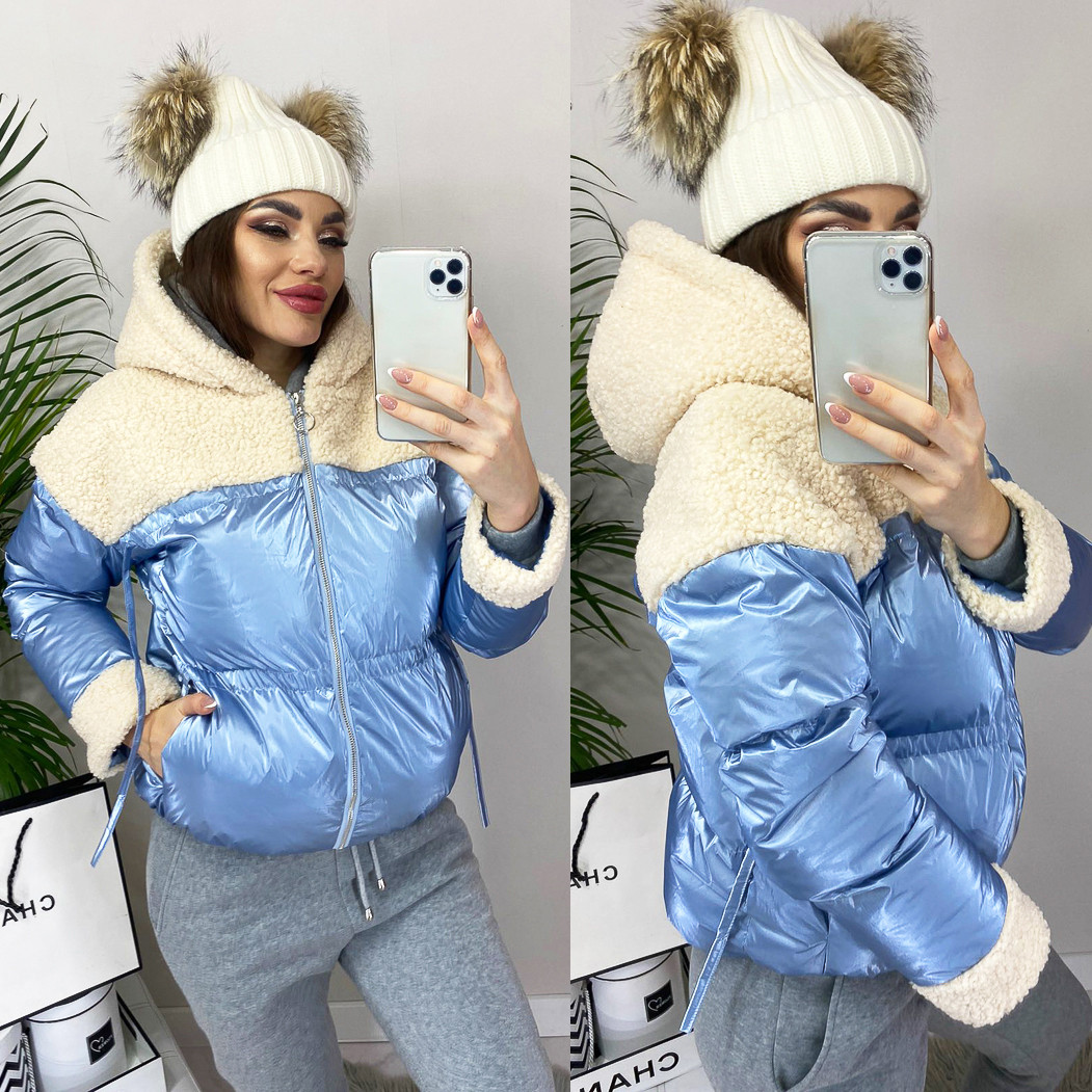 Куртка женская на утеплителе с капюшоном Ruixi 0627 голубая