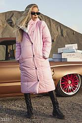 Пуховик женский с капюшоном двусторонний розовый+серебро | размеры S-Мр.