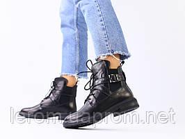 Ботинки черные кожаные на шнуровке зимние