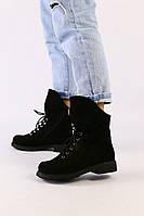 Женские демисезонные ботинки черные из нубука