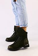 Женские демисезонные ботинки оливковые, нубук кожа