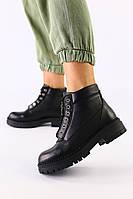 Женские демисезонные ботинки черные, кожа флотар