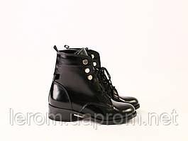 Зимние черные ботинки на шнуровке наплак
