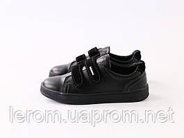 Черные кожаные кеды с вставками замши на липучках