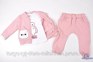 Костюм детский трикотажный тройка  (цв.бледно-розовый) A7008 Рост:92