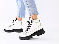 Женские зимние белые кожаные ботинки, фото 1