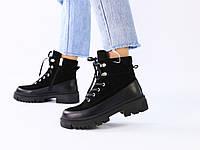 Черные замшевые зимние ботинки с вставками кожи, фото 1