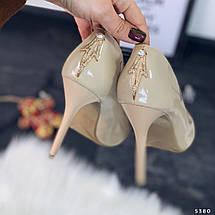 Туфли женские бежевые лаковые, фото 3
