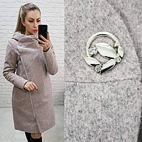 Зимнее пальто арт. 136 с капюшоном бежевое / цвет бежевый