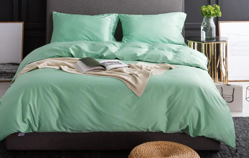 Постельное белье Сатин однотонный LIGHT GREEN, №258 ТМ Комфорт-текстиль (Евро)