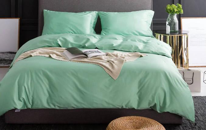 Постельное белье Сатин однотонный LIGHT GREEN, №258 ТМ Комфорт-текстиль (Евро), фото 2