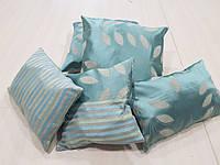 Комплект подушек листочки и полоски бирюза, 5шт, фото 1