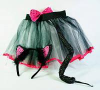 """Карнавальный детский костюм """"Кошка"""" черно-розовый 4 предмета в наборе, детский образ котик"""