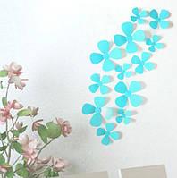 Декор на стену Цветок 3D 12 шт. в комплекте, цвет бирюзовый