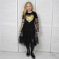Платье с сердцем праздничное, Черное, My Space 146