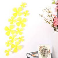Декор на стену Цветок 3D 12 шт. в комплекте, цвет желтый