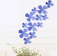 Декор на стену Цветок 3D 12 шт. в комплекте, цвет сиреневый