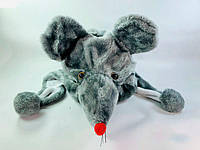 """Новогодняя карнавальная шапка """"Крысы"""" коричневый, мягкая текстильная шапка мышонка"""