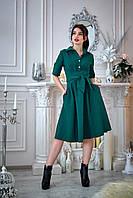 Платье с оригинальным поясом бутылочное, фото 1
