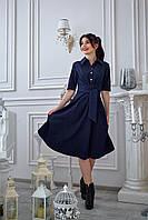 Элегантное платье с поясом темно-синее, фото 1