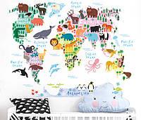 """Интерьерная наклейка  """"Карта мира с животными"""" 002, размер 70*90 см."""