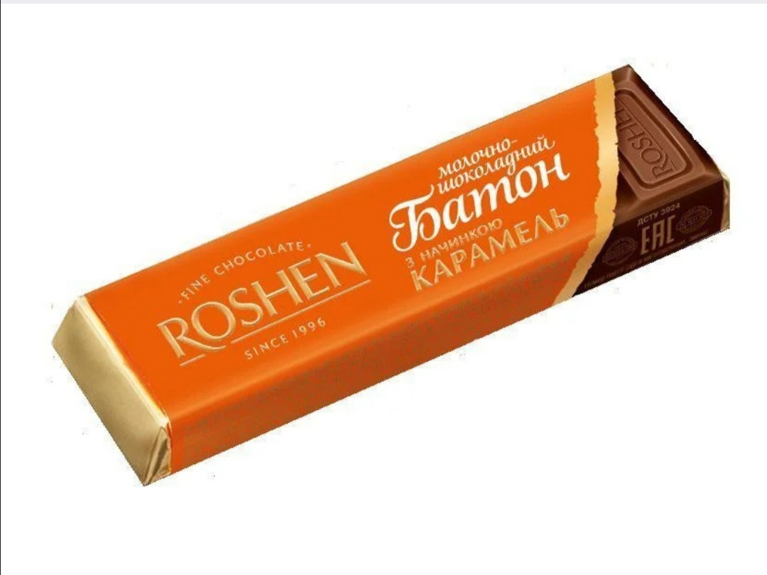 Шоколадный батончик Рошен с карамельной начинкой 40г