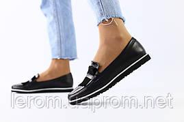 Женские кожаные черные туфли без каблука 36