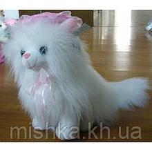 Мягкая игрушка озвученая Кот пушистый сидит 25см №8350-25
