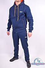 Костюм спортивный мужской (цв.т.синий/оранжевый) трикотажный на флисе FILA D-217 Размер:48,52