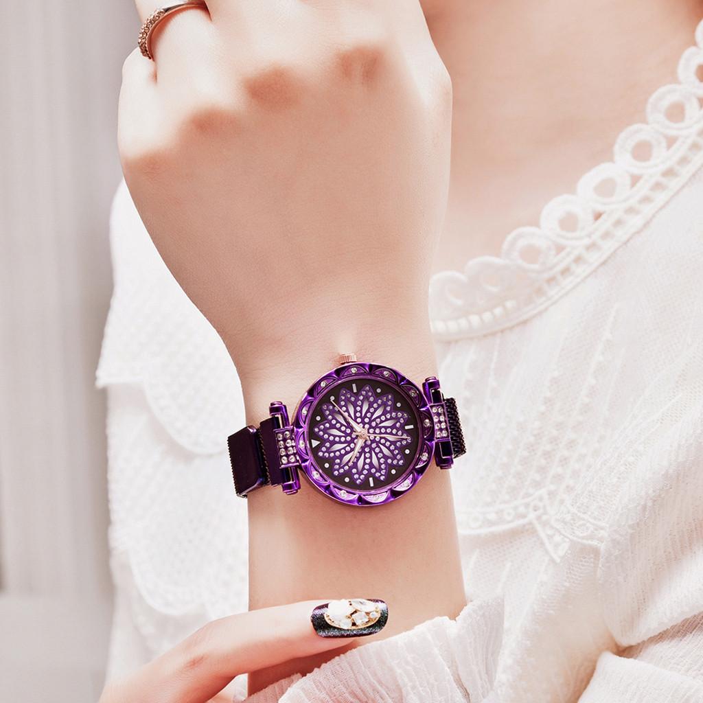 Женские часы на магнитной застежке Starry Sky фиолетовые, жіночий годинник,часы Звездное небо на магните