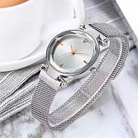 Часы женские наручные на магнитной застежке серебряного цвета кварцевые часы на магните
