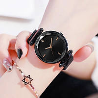 Часы женские наручные на магнитной застежке черного цвета кварцевые часы на магните