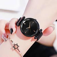 Годинники жіночі наручні на магнітній застібці чорного кольору кварцові годинники на магніті