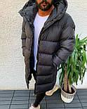 😜 Куртка - Мужскаяя куртка-пальто зима серого цвета удлиненная, фото 3