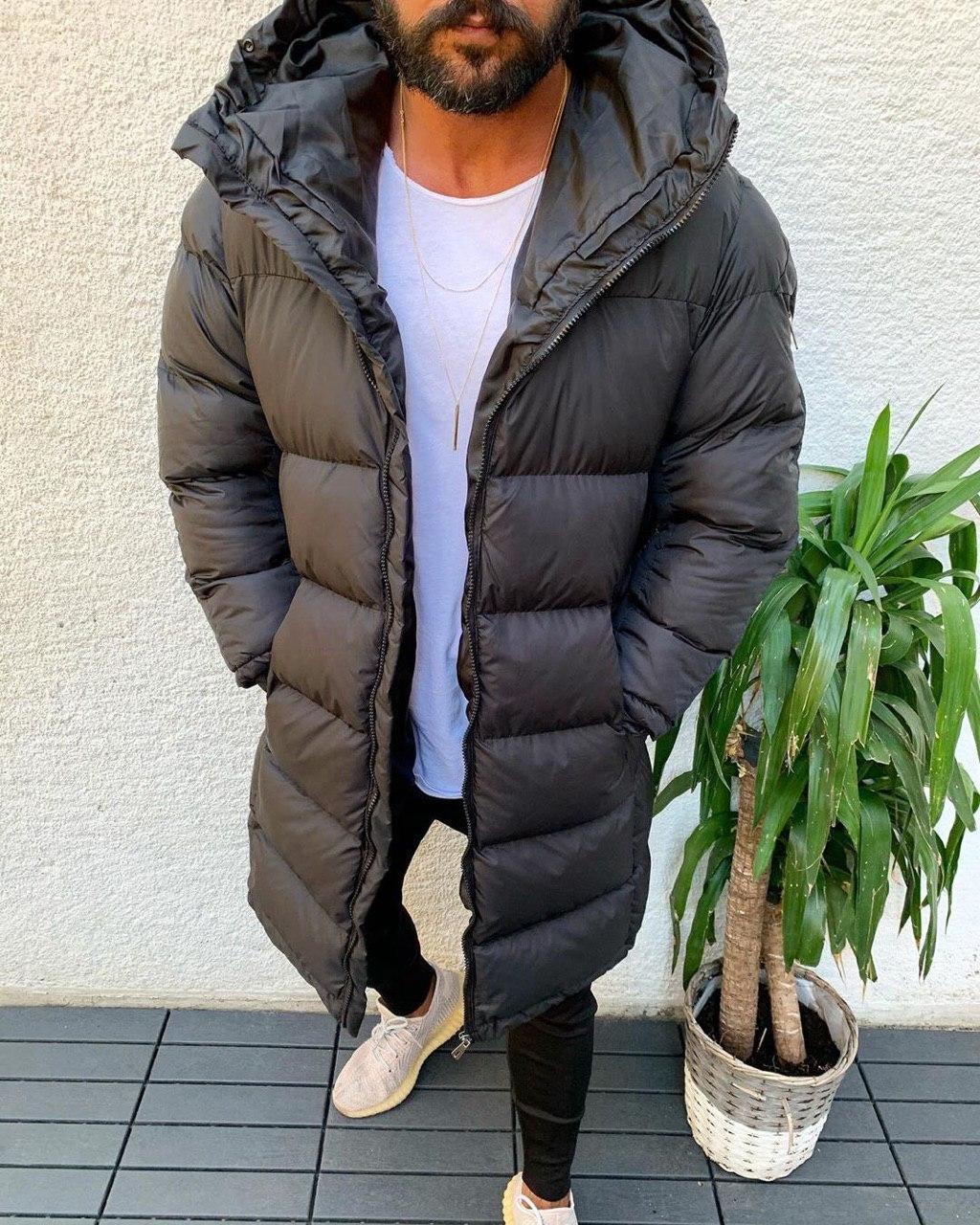 😜 Куртка - Мужскаяя куртка-пальто зима серого цвета удлиненная