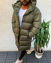 😜 Куртка - Мужскаяя куртка-пальто зима хаки цвета удлиненная