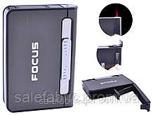 Портсигар + зажигалка на 10 сигарет FOCUS №XT-4938 Black
