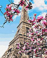 Картина по номерам Цветение магнолий в Париже без коробки, 40*50см, Brushme
