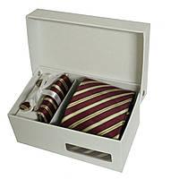 Набор подарочный: галстук, запонки, платок, зажим, коробка бургунди+золотой GS879-1, фото 1