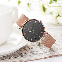 Женские наручные часы Geneva Classic steel watch розовое золото с черным циферблатом, кварцевые часы Женева