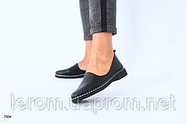 Женские черные туфли без каблука кожаные